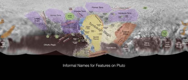 La carte de Pluton annotée. Crédit NASA