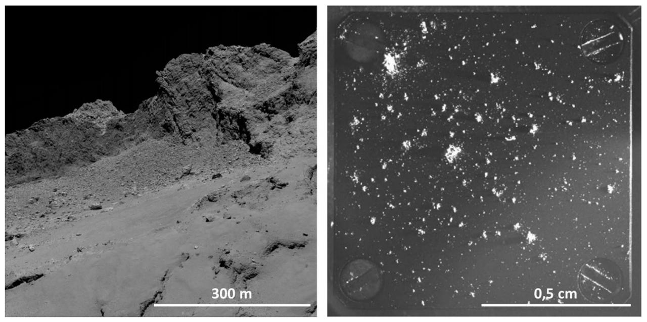 La surface du noyau cométaire vue par la sonde Rosetta.