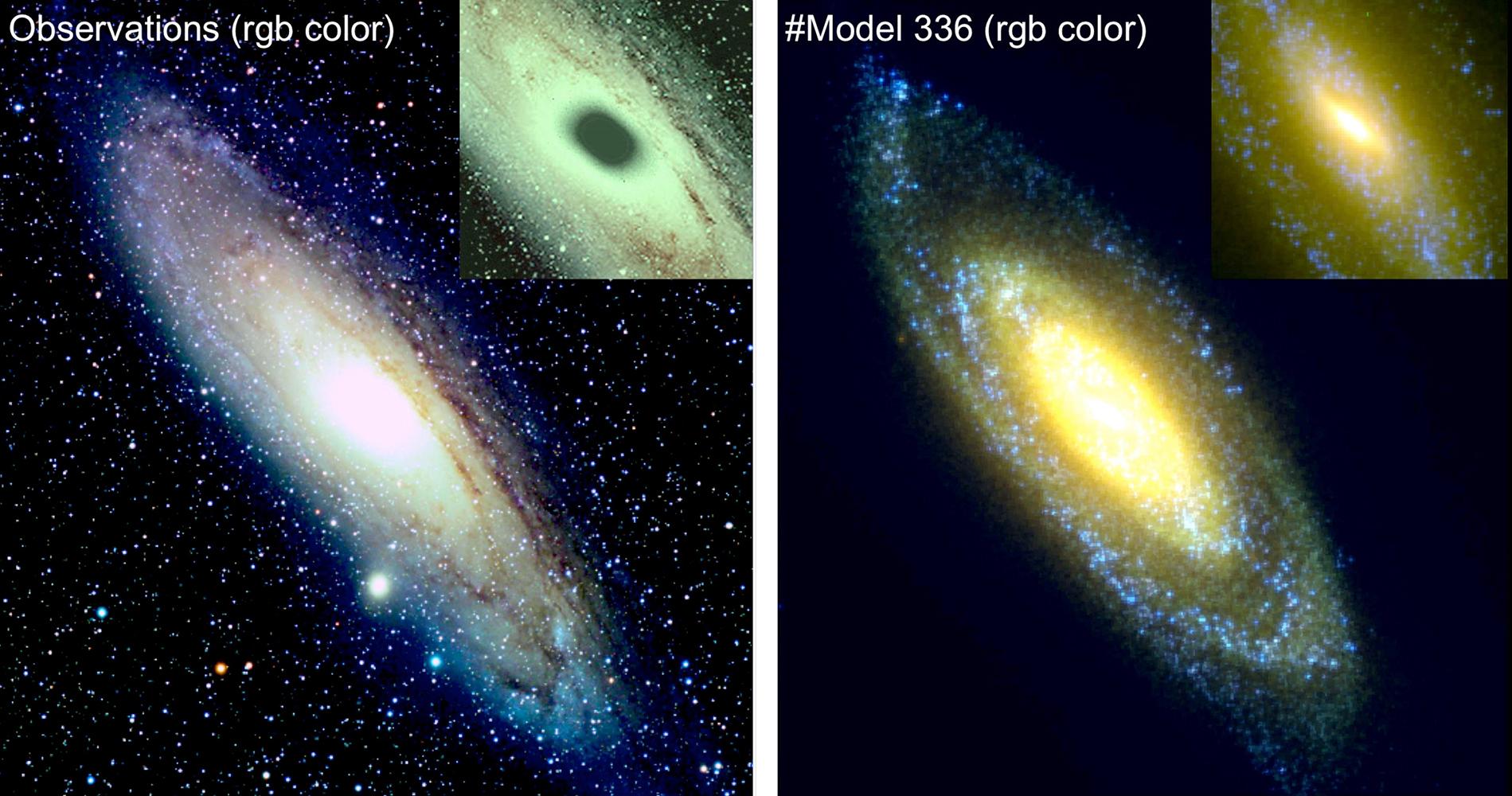 Vues comparées en vraies couleurs de la galaxie d'Andromède