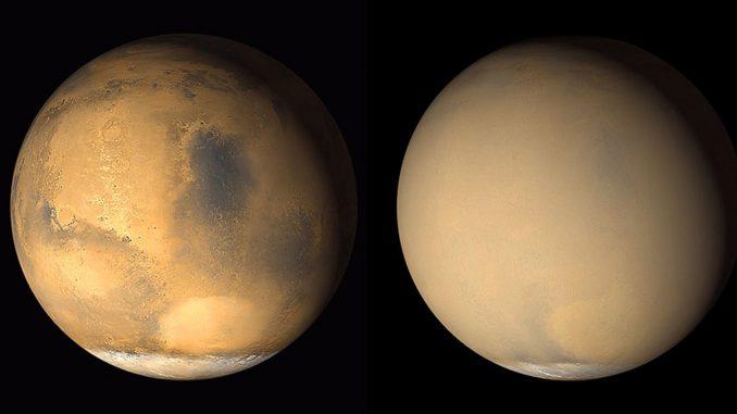 Les tempêtes de poussière globales de Mars