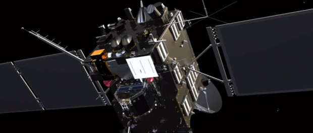 En rouge les capteurs d'étoiles de la sonde. En arrière plan on distingue une partie de l'antenne.
