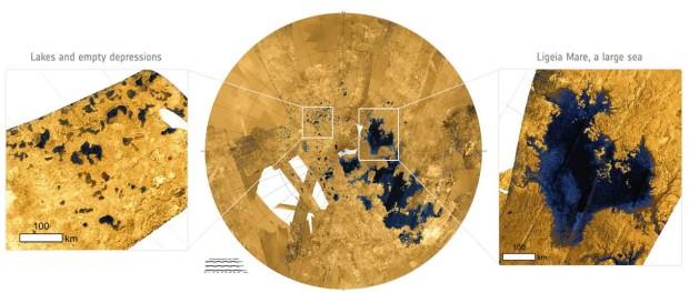 Image radar du pole nord de Titan. (Copyright: Centre: NASA/JPL-Caltech/ASI/USGS; left and right: NASA/ESA. Acknowledgement: T. Cornet, ESA)
