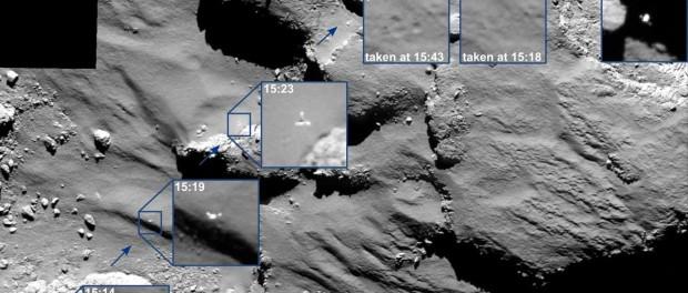 Le 12 novembre 2014 la caméra Osiris avant et après les rebonds de Philae. (Crédits : ESA/Rosetta/MPS for OSIRIS Team MPS/UPD/LAM/IAA/SSO/INTA/UPM/DASP/IDA)