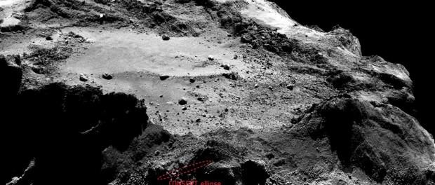 En rouge la zone d'attérissage potentiel de Philae. (Crédits : ESA/Rosetta/Philae/CONSERT)