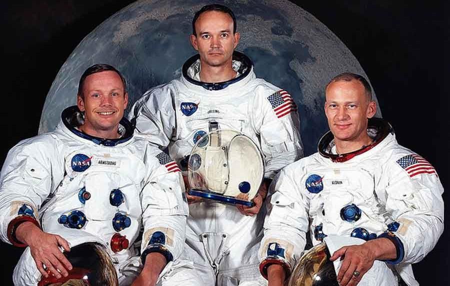 De gauche à droite: Nel Armstrong, Michael Collins et Edwin Aldrin.