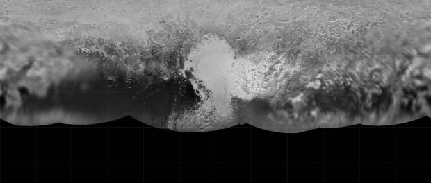 La première carte de Pluton depuis le survol. Crédit NASA