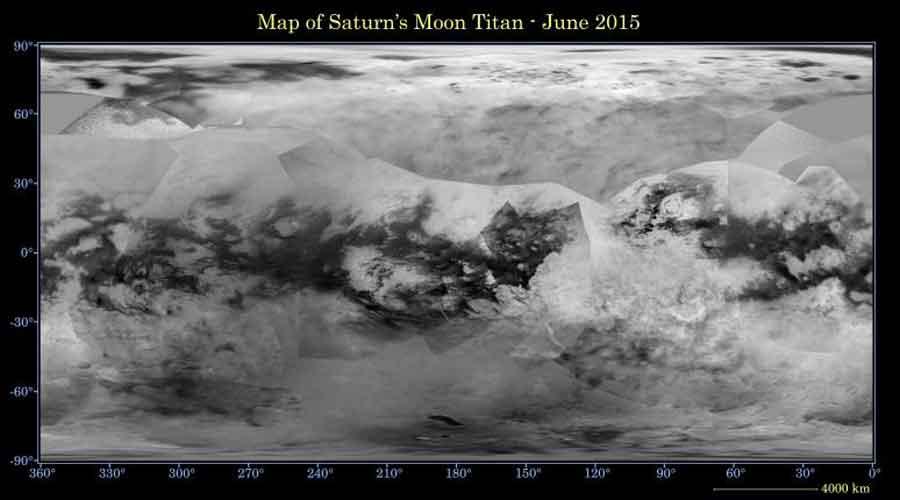 La carte de Titan mise a jour en juin 2015 Crédit NASA