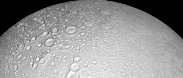 Le pôle Nord d'Encelade. Crédit NASA