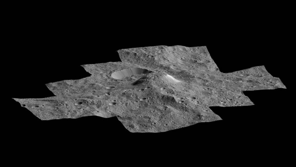 Vue en perspective de la montagne Ahuna. Crédits: NASA/ JPL/ DLR