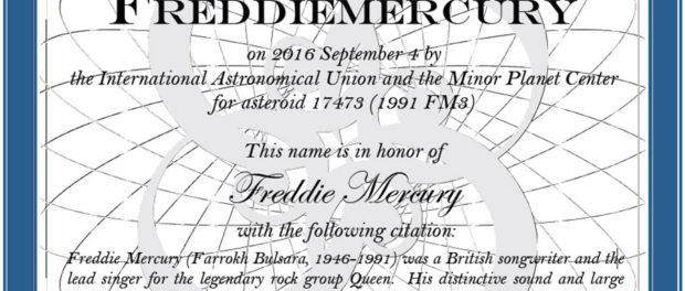 Depuis le 4 septembre 2016, un astéroïde porte le nom du chanteur de Queen.