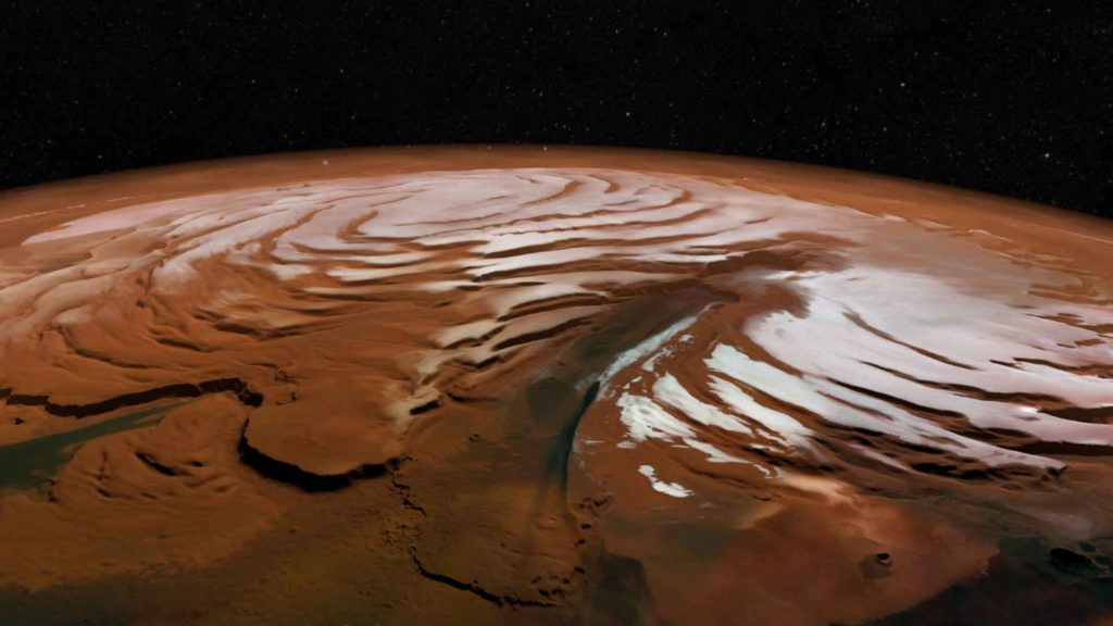 Perspective de Chasma Boreale. Crédit ESA/DLR/FU Berlin