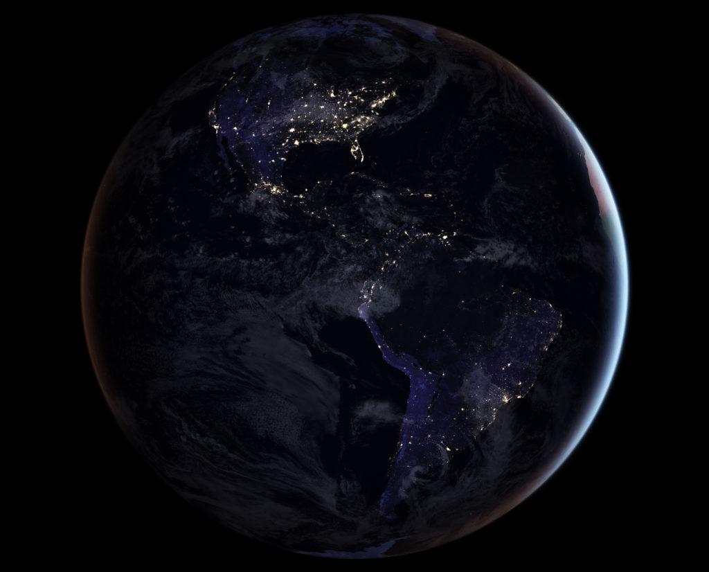 Le continent américain de nuit