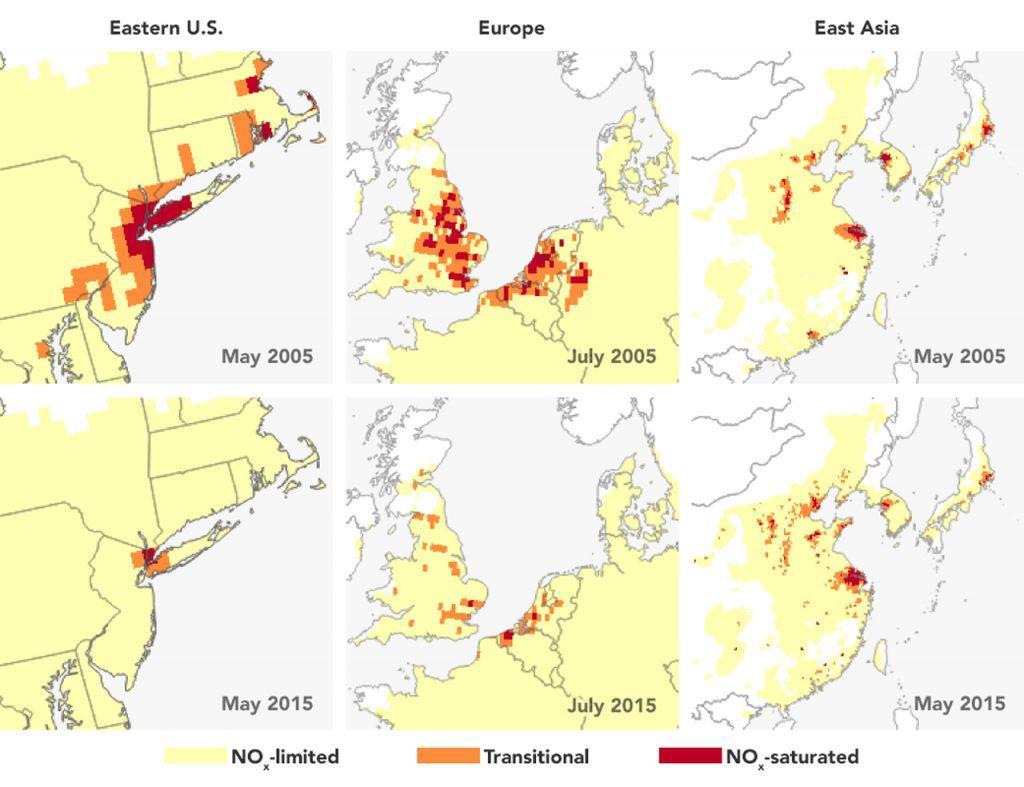 Carte de la pollution de l'ozone