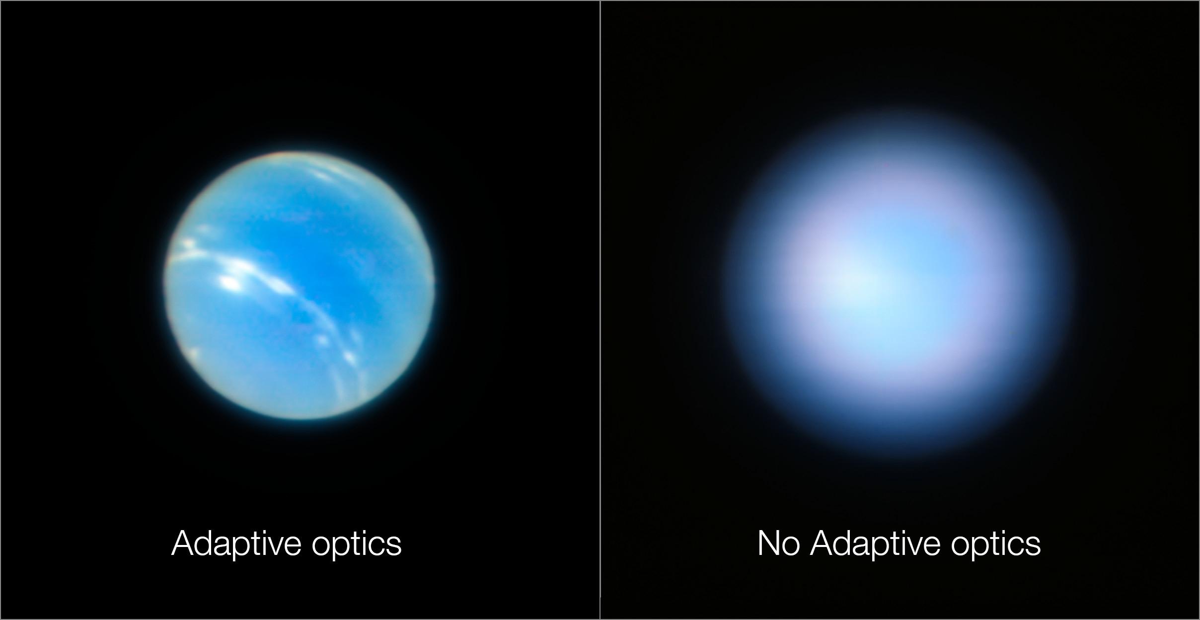 Clichés de Neptune acquis par le VLT avec et sans le dispositif d'optique adaptative