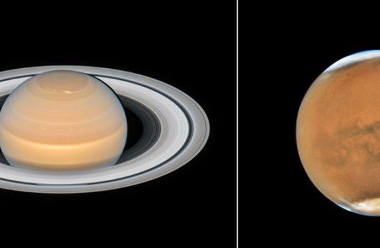 Mars et Saturne par Hubble