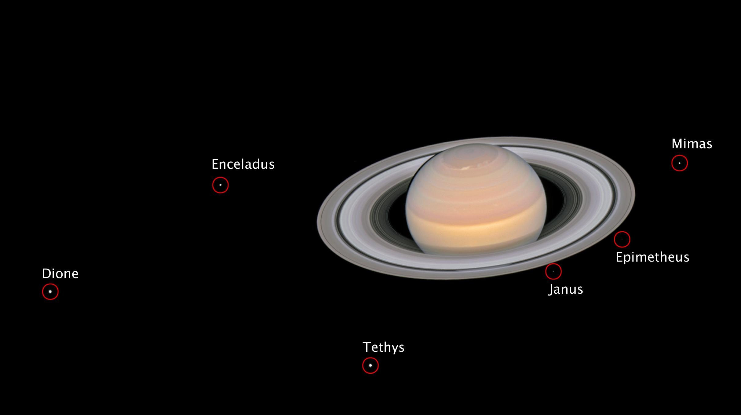 Saturne et 6 lunes