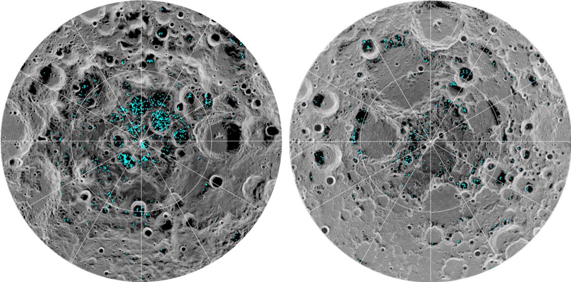 Confirmation de la présence de glace aux pôles de la lune