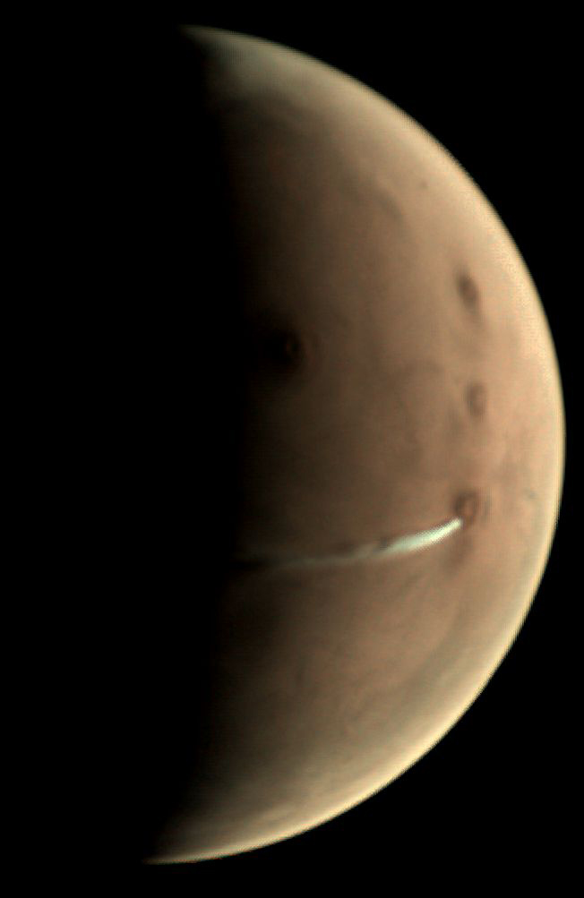 Une nuage allongé sur Mars