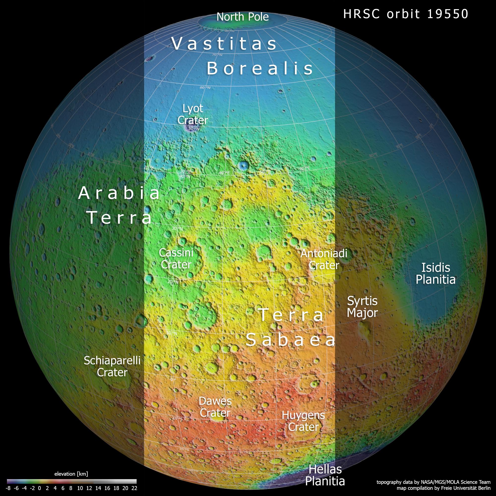 Du pôle Nord au pôle sud de Mars