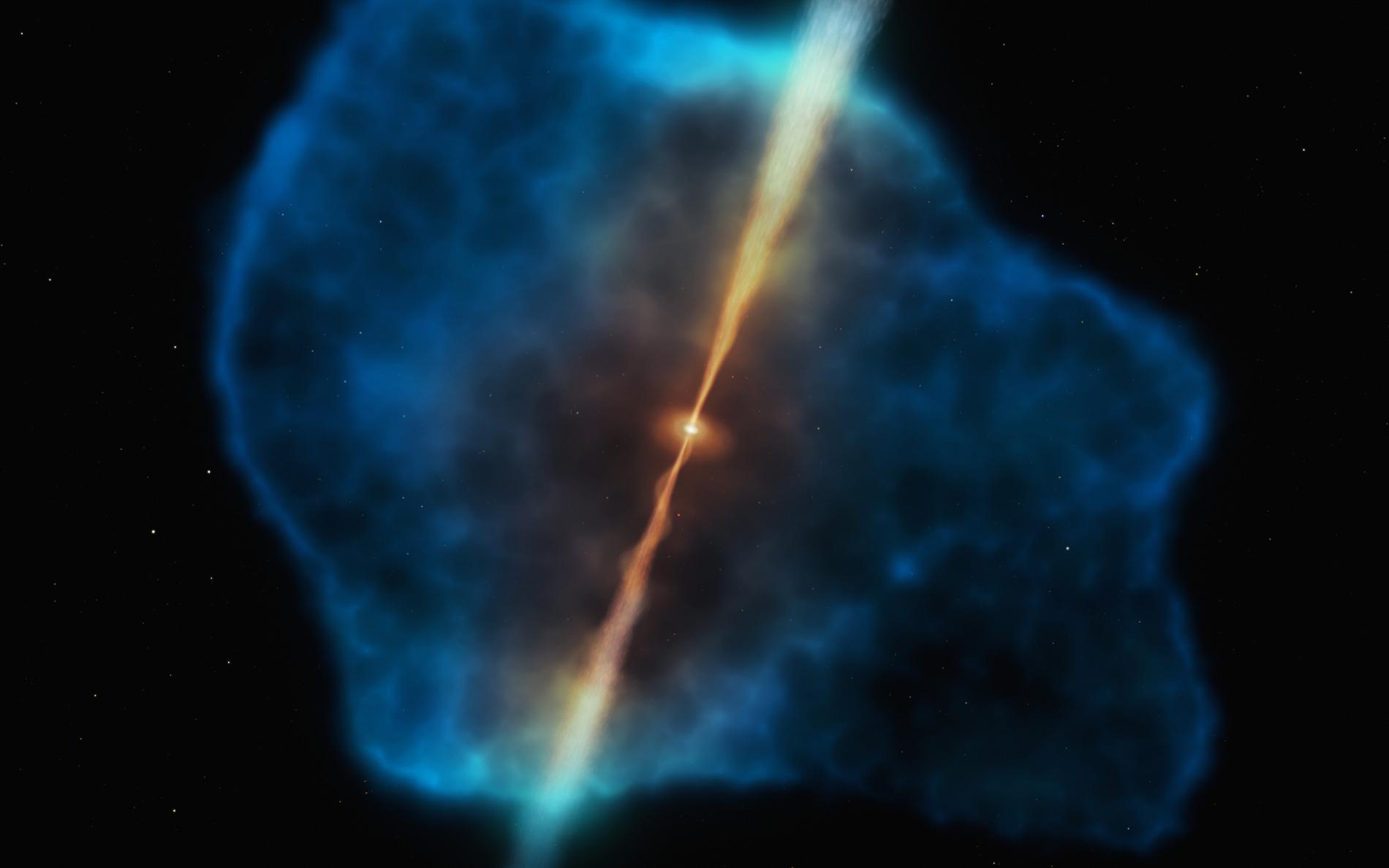 Vue d'artiste d'un quasar distant entouré d'un halo de gaz