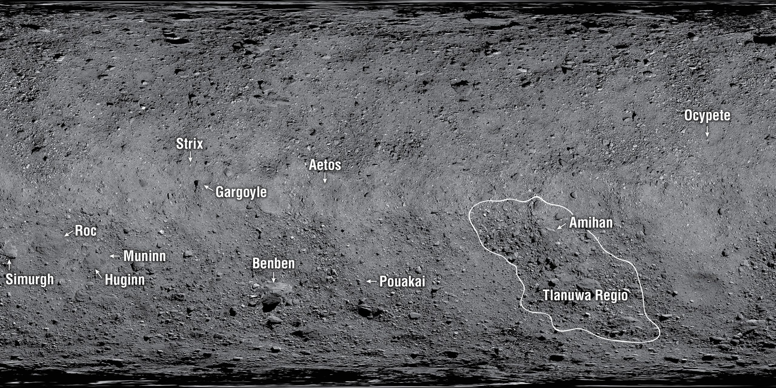 carte de la surface de Bennu
