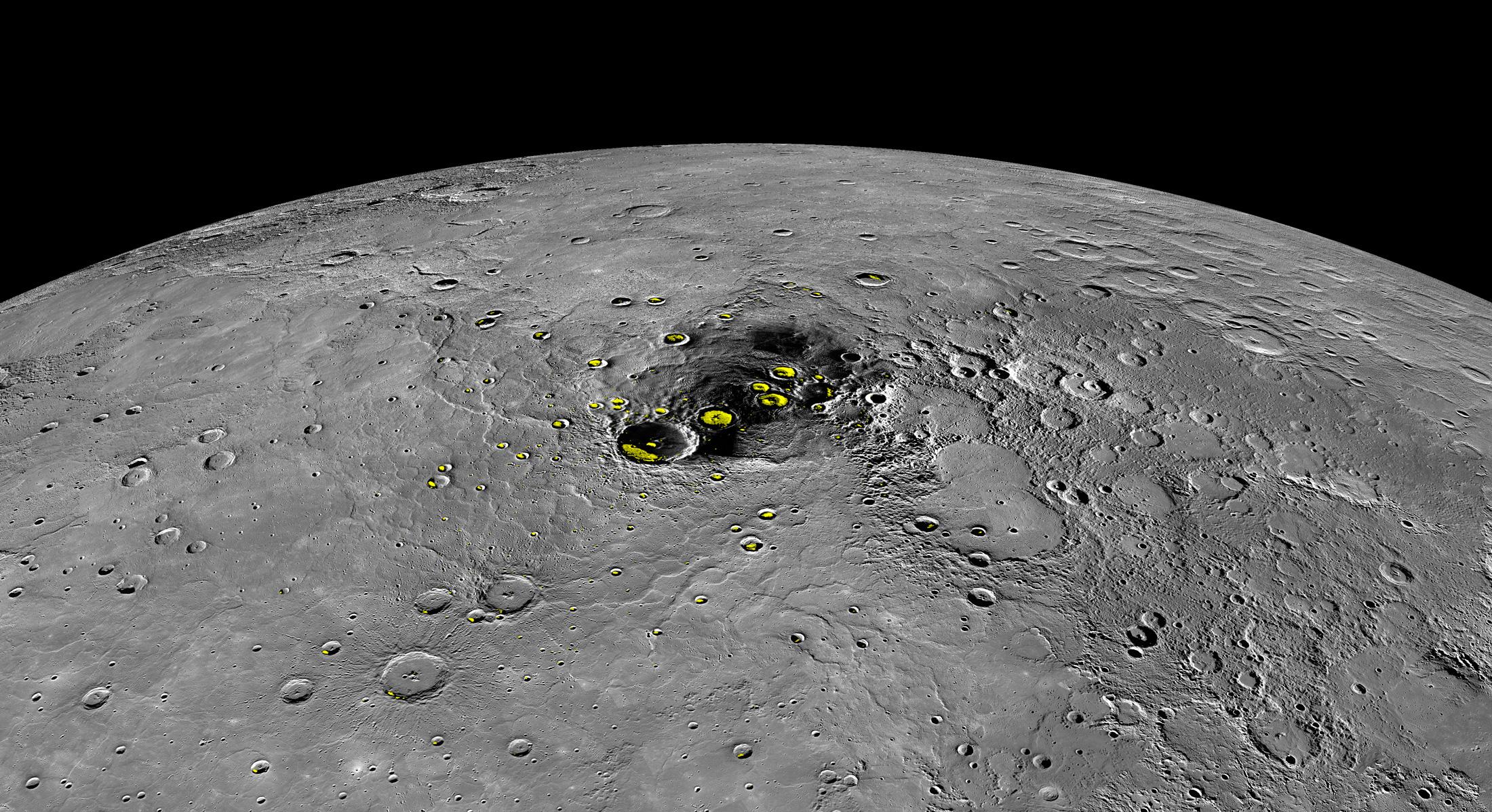 Aperçu de la région polaire nord de Mercure