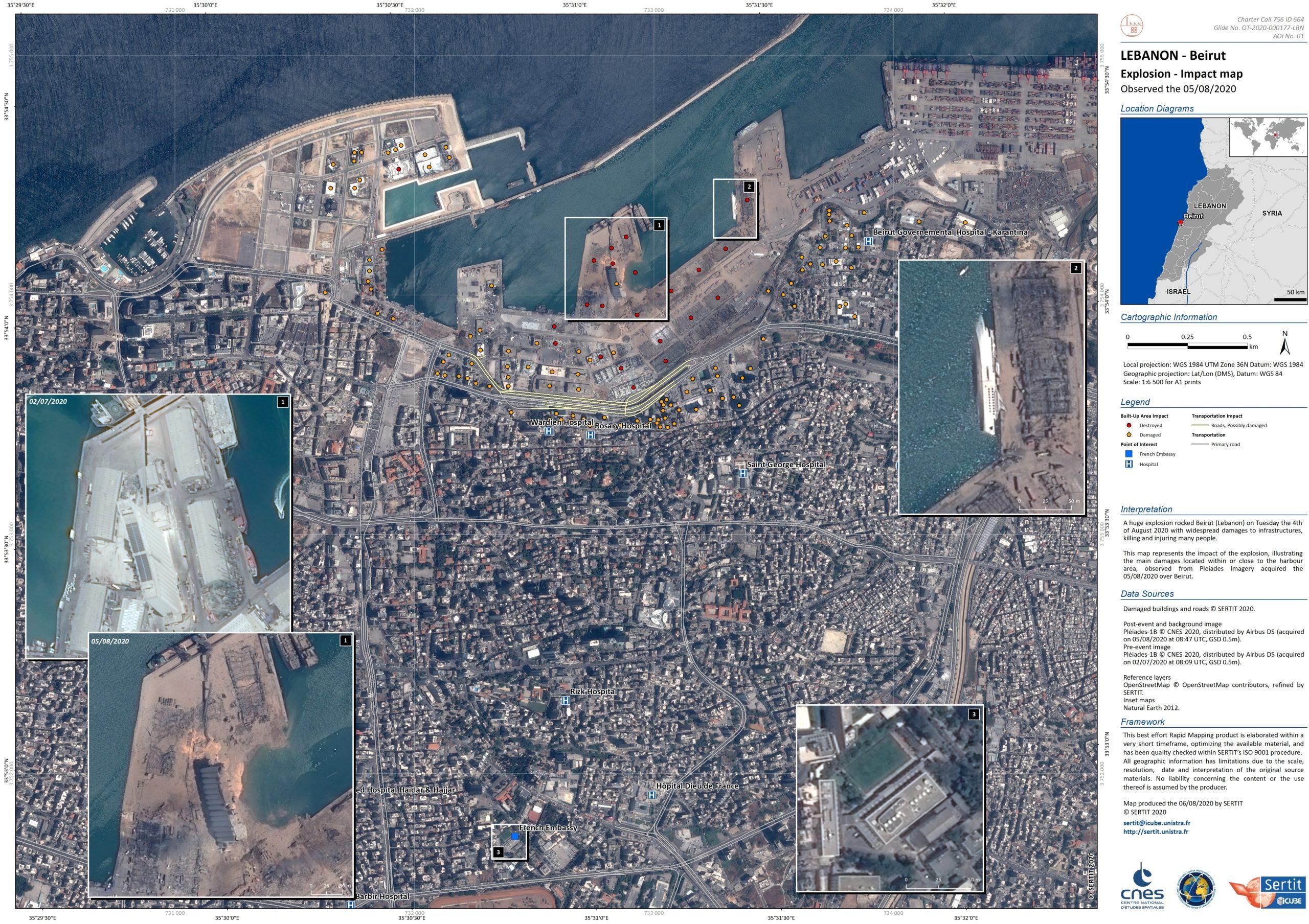 La carte de l'explosion industrielle de Beyrouth