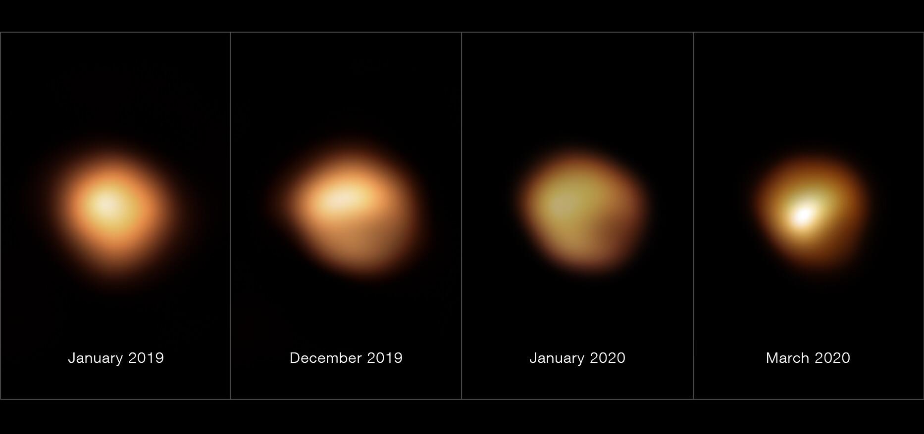 La surface de Bételgeuse avant et pendant sa grande diminution d'intensité lumineuse de 2019-2020
